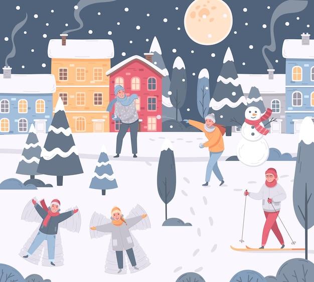 나무 집과 사람들이있는 눈 덮인 마을을 볼 수있는 겨울 스포츠 레저 활동 구성