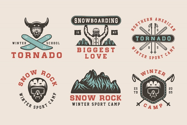 Winter sports logos, badges, emblems