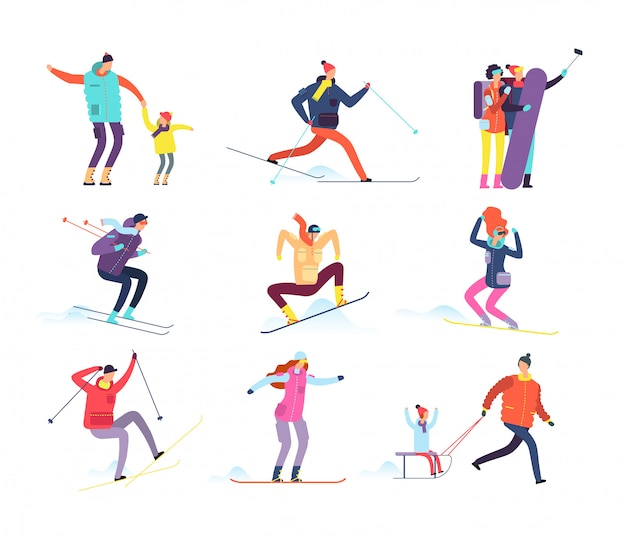 Winter sports people. adult and children in winter clothes snowboarding and skiing.