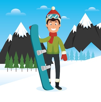 Winter sports pepople with snowboard and skis