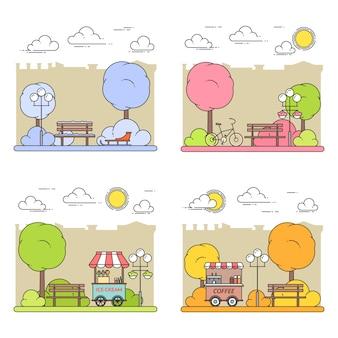 Зимние, весенние, летние, осенние городские пейзажи с центральным парком. векторная иллюстрация штриховые рисунки. четыре сезона установлены. концепция строительства, жилья, рынка недвижимости, архитектурного дизайна, баннер недвижимости