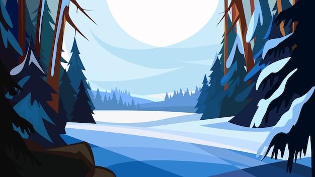 Зимний еловый лес. красивые пейзажи природы.