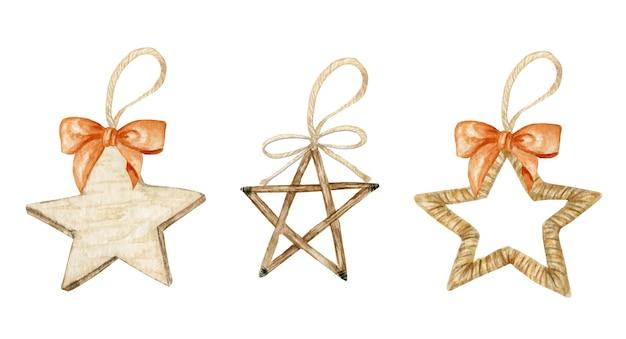 冬の星のクリスマスの木製の装飾と弓のセット。水彩イラスト。クリスマスツリーの環境にやさしい装飾。