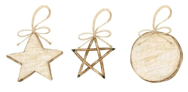 冬の星のクリスマスの木製の装飾と弓のセット。分離された水彩イラスト。