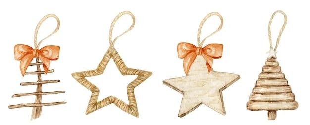 冬の星のクリスマスの木製の装飾と弓のセット。