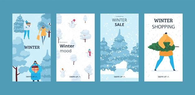 Winter story for social media new year christmas set  illustration vertical banner.