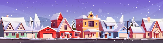 Winter street in suburb district with houses
