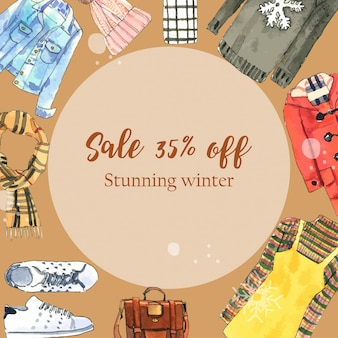 Winter style banner with watercolor dresses, wool hat and bag