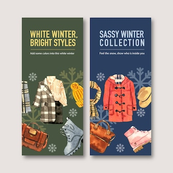 Winter style flyer design with coat, sweater, skirt, boots, bag watercolor illustration.