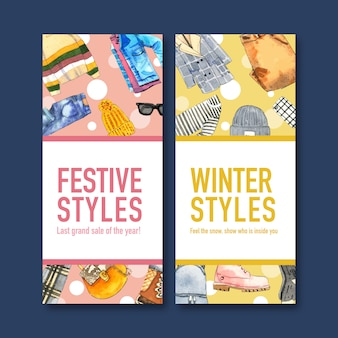 Winter style flyer design with sweater, jeans, wool hat, jacket watercolor illustration.
