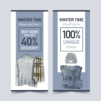 Зимний стиль флаер дизайн с свитер, шарф, шерсть шляпа акварельные иллюстрации.