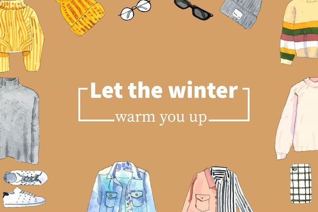セーター、ウールの帽子、メガネ水彩イラストと冬スタイルのフレームデザイン。