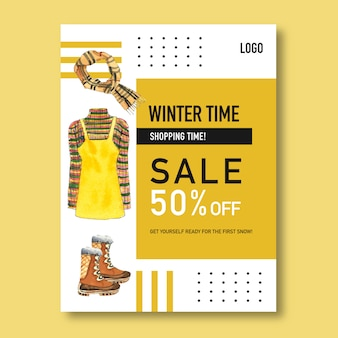 Winter style poster design with dress, scarf, boots watercolor illustration