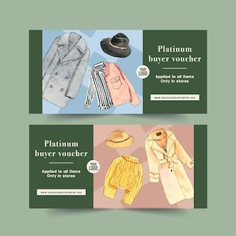 Winter style voucher design with coat, jacket, shirt watercolor illustration.