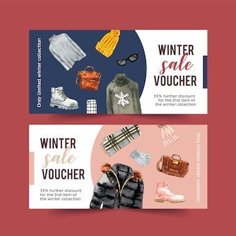 Winter style voucher design with sweater, bag, gloves watercolor illustration.