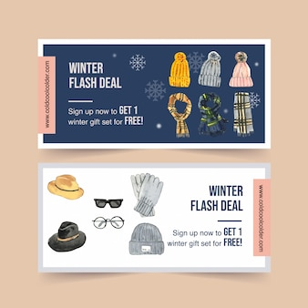 Winter style voucher with watercolor wool hat, scarf, gloves and glasses