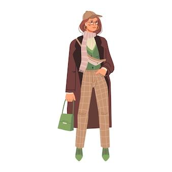 ズボンの長いコートとスーツの冬のスタイルの女性