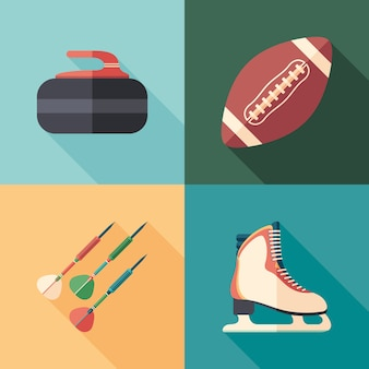 Winter and summer sports flat square icons with long shadows.