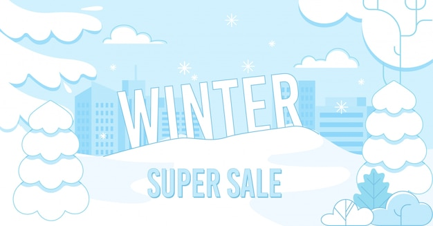 Winter super sale on holidays advertising banner