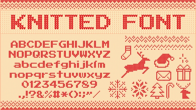 Winter sweater font. knitted christmas sweaters letters, knit jumper xmas pattern and ugly sweater knits  illustration set