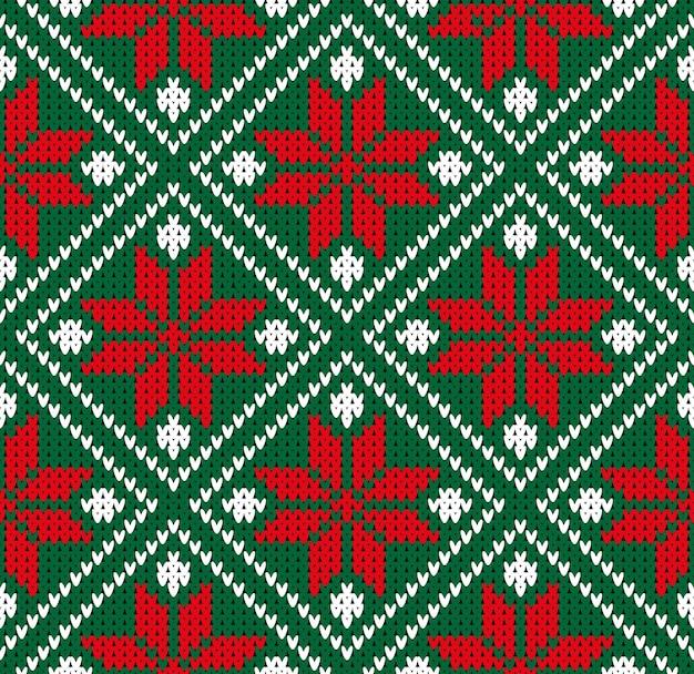 冬のセーターシームレスノルウェー緑赤白パターンベクトル図