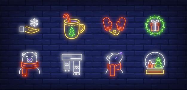 Simboli invernali impostati in stile neon con orso polare in sciarpa