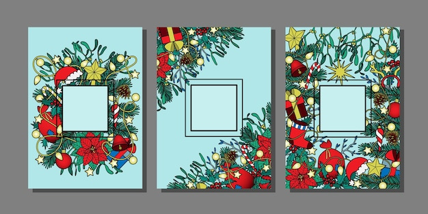 Winter templates set with plants with birds