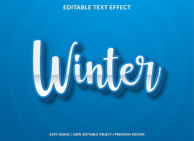 Winter text effect template premium style