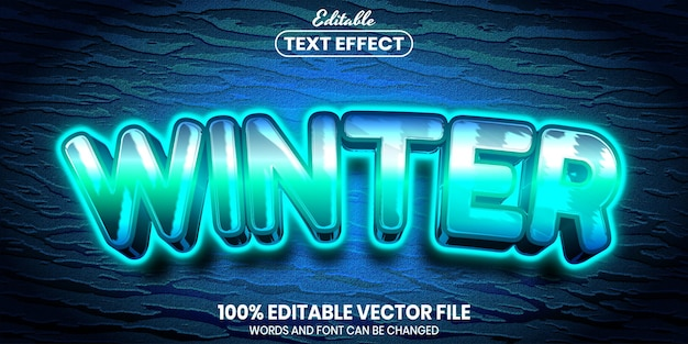 Winter text, font style editable text effect