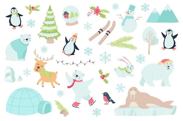 Зимнее время и набор изолированных объектов животных коллекция пингвинов, оленей, полярных медведей, снежинка