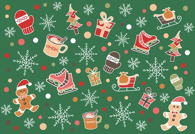 Winter time doodle illustration christmas doodle drawing modern style new year illustration hand