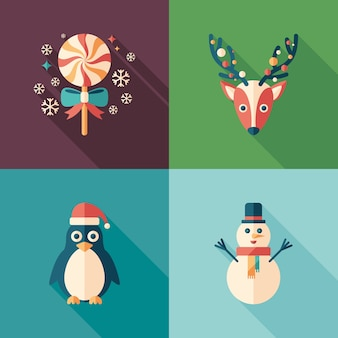Winter time flat square icons set.