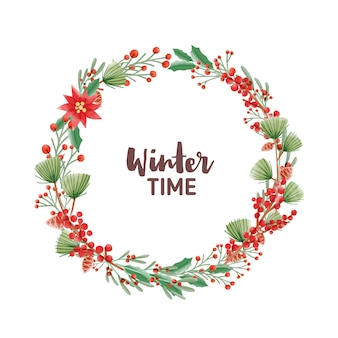 Winter time handwritten lettering inside round frame or holiday wreath made of pine branches with cones, poinsettia and ilex or holly leaves