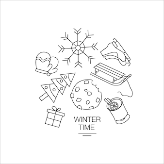 Winter time lineart illustration christmas line drawing modern style new year illustration hand