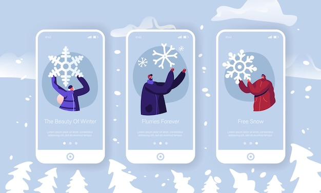 Winter time outdoors spare time mobile app page onboard screen set.