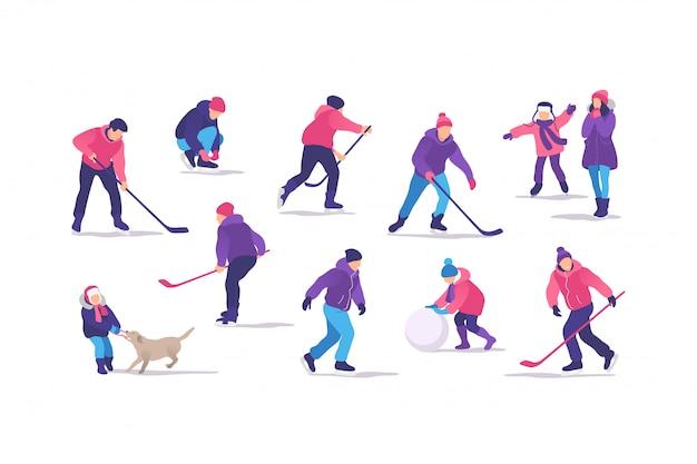 冬の時間です。ホッケーをしたり、野外活動を行ったりするアイススケートリンクの人々。図。