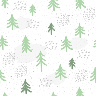 Winter time seamless pattern background. hand drawn green spruce isolated on dark for card, invitation, album, sketch book, scrapbook, holiday wrapping paper, textile fabric, garment etc.
