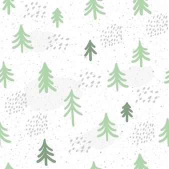 Зимнее время бесшовный фон фон. нарисованная вручную зеленая ель, изолированная на темноте для открытки, приглашения, альбома, альбома для эскизов, альбома для вырезок, праздничной упаковочной бумаги, текстильной ткани, одежды и т. д.