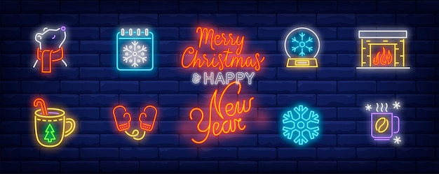 Winter time symbols set in neon style with fireplace
