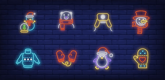 Winter time symbols set in neon style