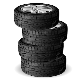 Winter tire stack. tyre repair shop. auto wheel