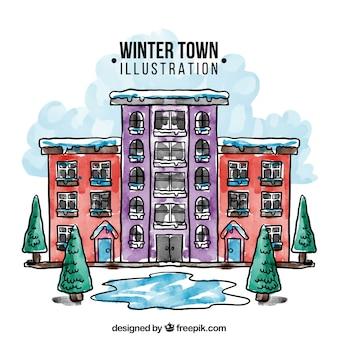 Città di inverno illustrazione