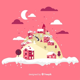 Winter town island illustration