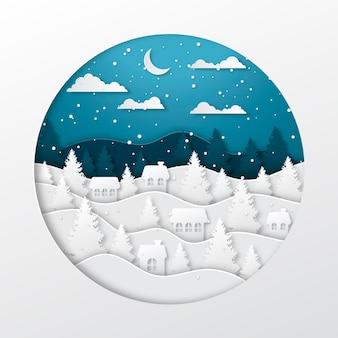 紙のスタイルの冬の町の風景