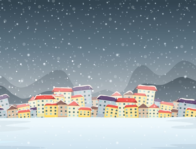 Winter town night background
