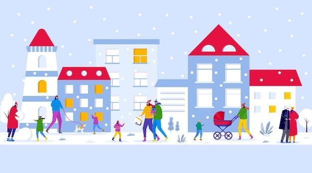 겨울 마을 공원, 부모는 아이들과 함께 산책하고 야외에서 즐거운 시간을 보냅니다. 사람들은 숲에서 눈사람을 만듭니다. 초대 카드, 전단지 디자인, 엽서, 휴일 배경 벡터 템플릿