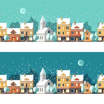 겨울 마을 도시의 겨울 풍경 도시 풍경