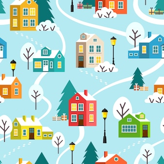 Winter town or village vector seamless pattern