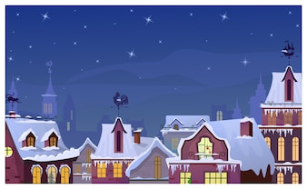Winter townscape with night sky and houses roofs