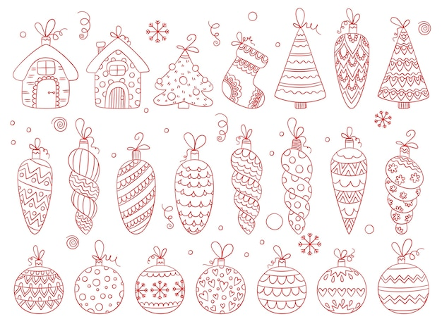Winter toys. christmas balls holiday decoration ornamental stars and snowflakes bubbles and bells vector hand drawn set. christmas winter toys for decoration illustration
